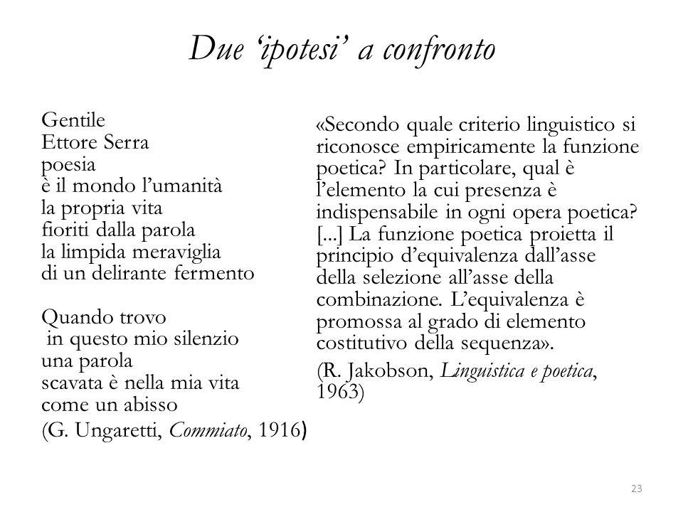 Due 'ipotesi' a confronto Gentile Ettore Serra poesia è il mondo l'umanità la propria vita fioriti dalla parola la limpida meraviglia di un delirante