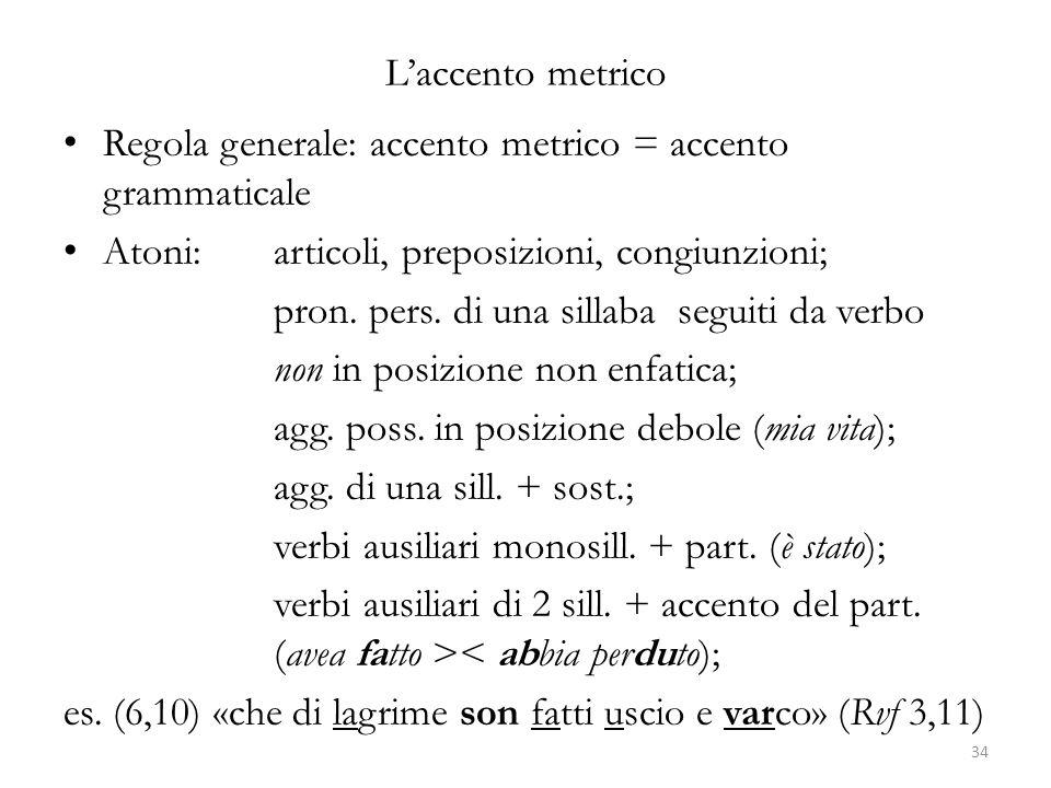 L'accento metrico Regola generale: accento metrico = accento grammaticale Atoni: articoli, preposizioni, congiunzioni; pron. pers. di una sillaba segu