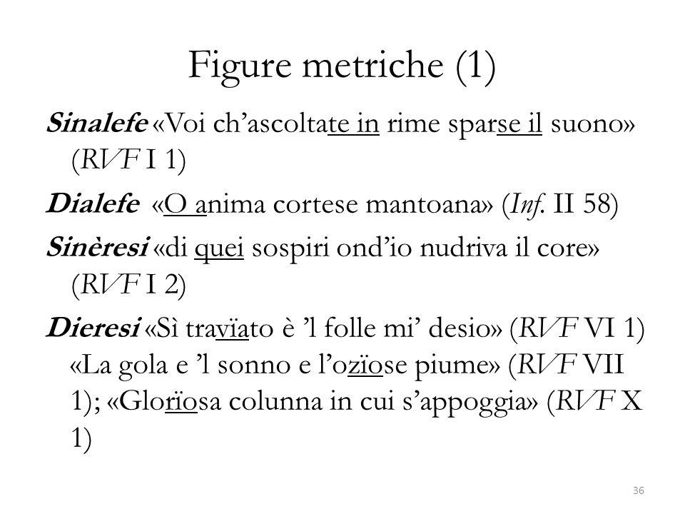 Figure metriche (1) Sinalefe «Voi ch'ascoltate in rime sparse il suono» (RVF I 1) Dialefe «O anima cortese mantoana» (Inf. II 58) Sinèresi «di quei so