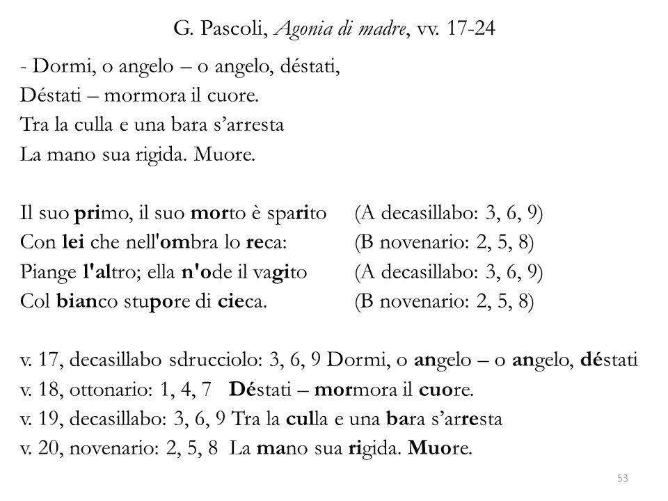 G. Pascoli, Agonia di madre, vv. 17-24 - Dormi, o angelo – o angelo, déstati, Déstati – mormora il cuore. Tra la culla e una bara s'arresta La mano su
