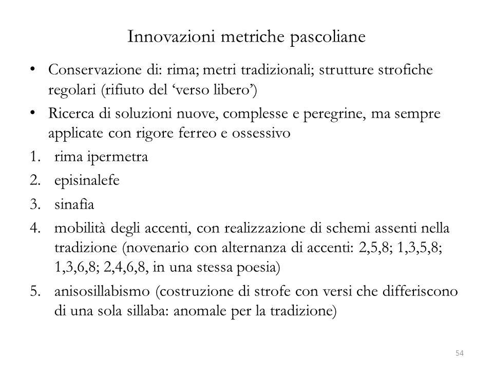 Innovazioni metriche pascoliane Conservazione di: rima; metri tradizionali; strutture strofiche regolari (rifiuto del 'verso libero') Ricerca di soluz