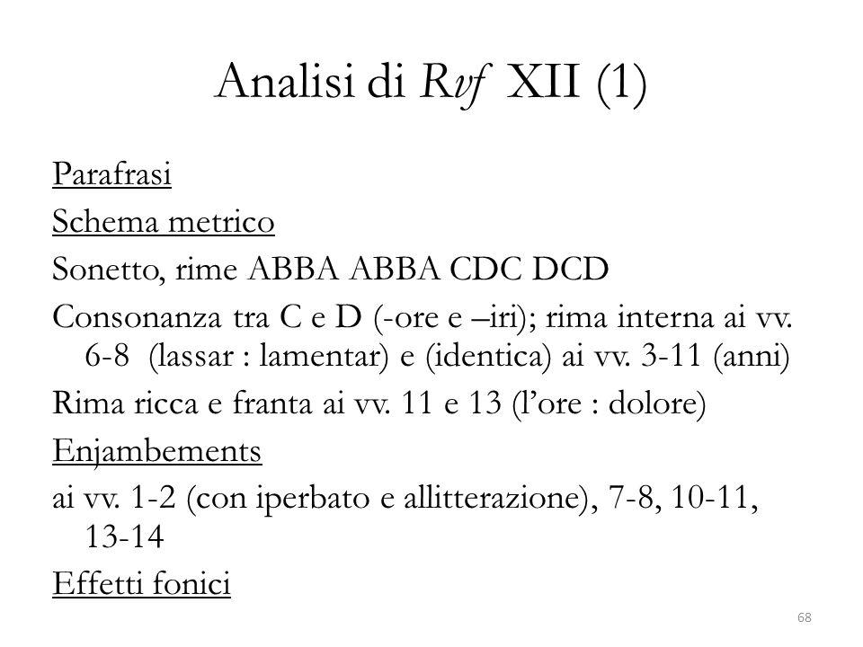 Analisi di Rvf XII (1) Parafrasi Schema metrico Sonetto, rime ABBA ABBA CDC DCD Consonanza tra C e D (-ore e –iri); rima interna ai vv. 6-8 (lassar :