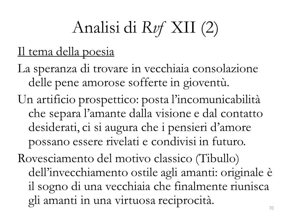 Analisi di Rvf XII (2) Il tema della poesia La speranza di trovare in vecchiaia consolazione delle pene amorose sofferte in gioventù. Un artificio pro
