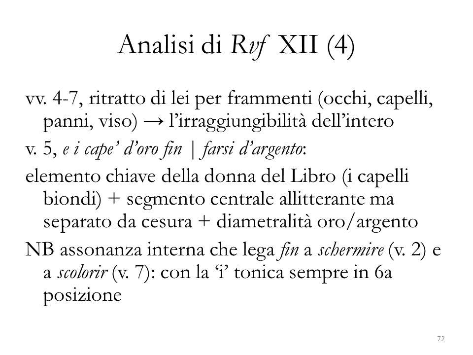Analisi di Rvf XII (4) vv. 4-7, ritratto di lei per frammenti (occhi, capelli, panni, viso) → l'irraggiungibilità dell'intero v. 5, e i cape' d'oro fi