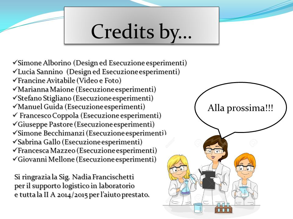 Credits by… Simone Alborino (Design ed Esecuzione esperimenti) Simone Alborino (Design ed Esecuzione esperimenti) Lucia Sannino (Design ed Esecuzione
