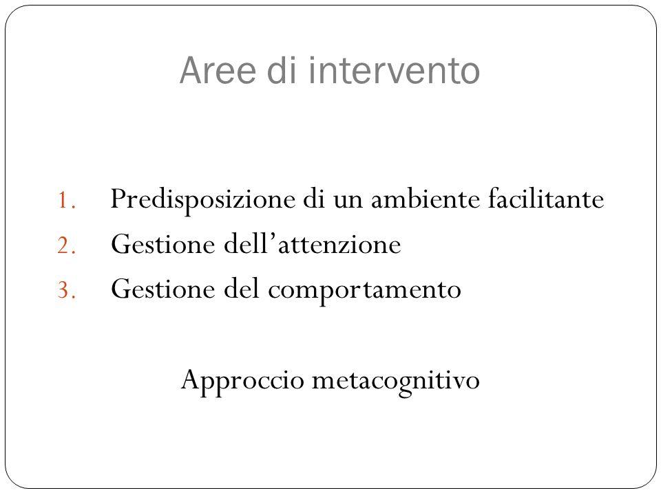 Aree di intervento 1. Predisposizione di un ambiente facilitante 2. Gestione dell'attenzione 3. Gestione del comportamento Approccio metacognitivo