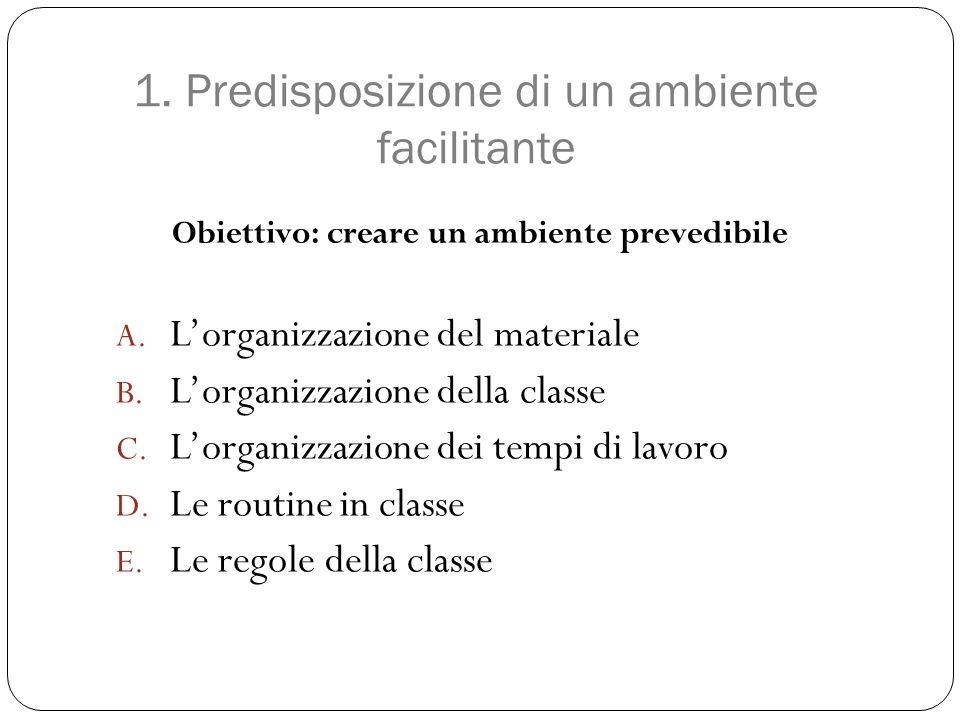 1. Predisposizione di un ambiente facilitante Obiettivo: creare un ambiente prevedibile A. L'organizzazione del materiale B. L'organizzazione della cl