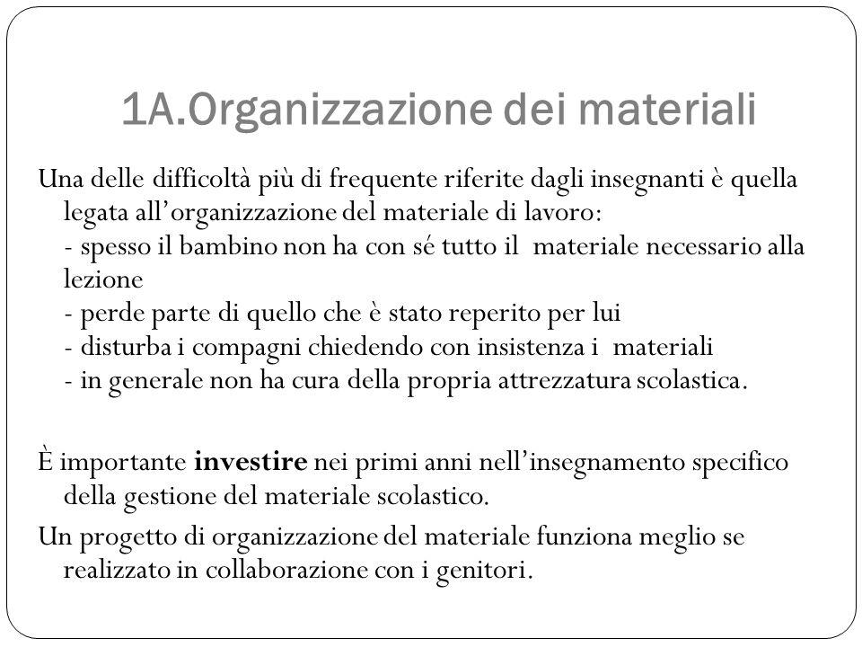 1A.Organizzazione dei materiali Una delle difficoltà più di frequente riferite dagli insegnanti è quella legata all'organizzazione del materiale di la