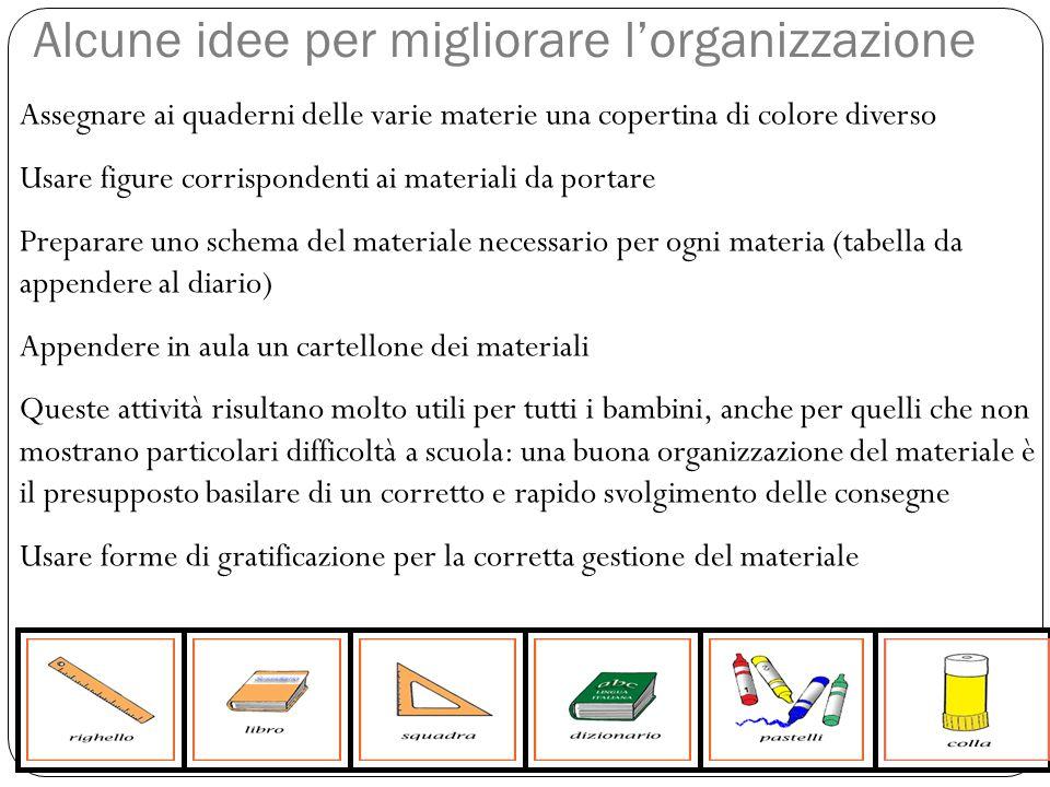 Assegnare ai quaderni delle varie materie una copertina di colore diverso Usare figure corrispondenti ai materiali da portare Preparare uno schema del