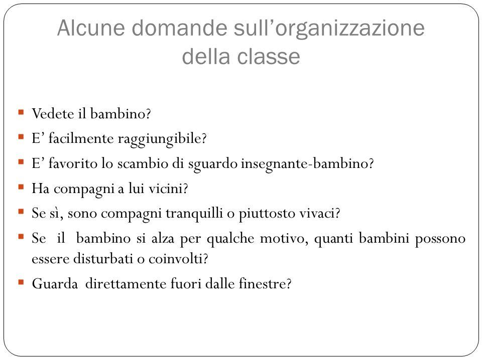 Alcune domande sull'organizzazione della classe  Vedete il bambino?  E' facilmente raggiungibile?  E' favorito lo scambio di sguardo insegnante-bam