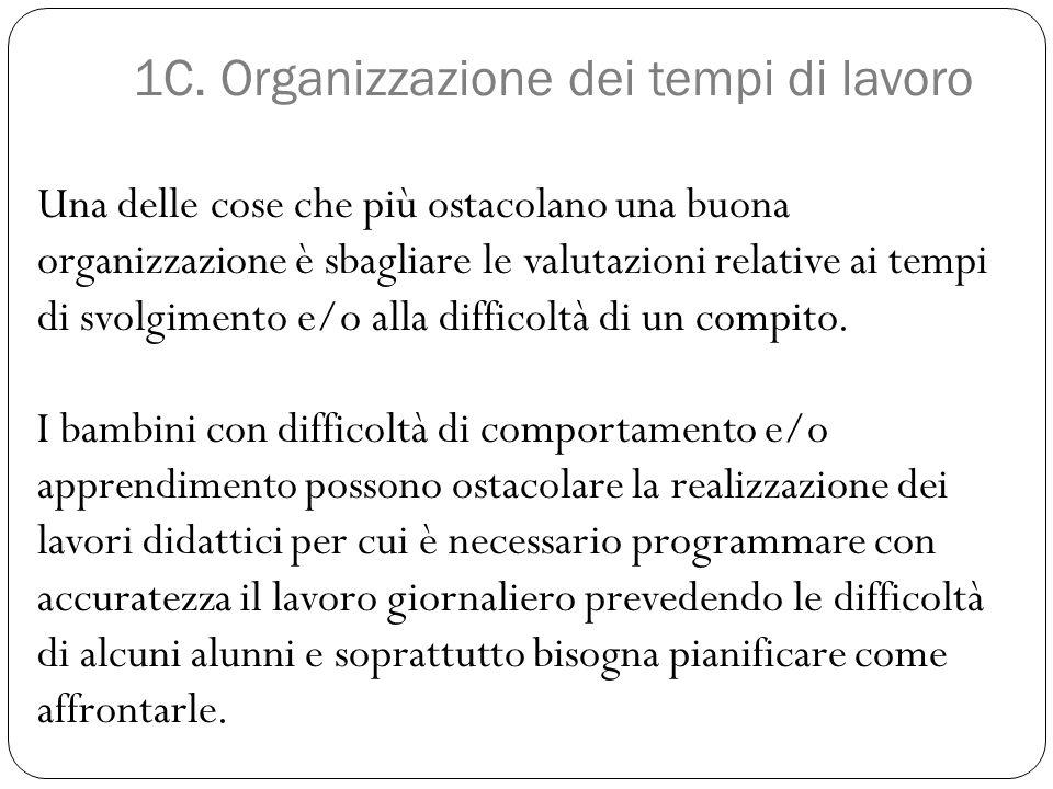1C. Organizzazione dei tempi di lavoro Una delle cose che più ostacolano una buona organizzazione è sbagliare le valutazioni relative ai tempi di svol