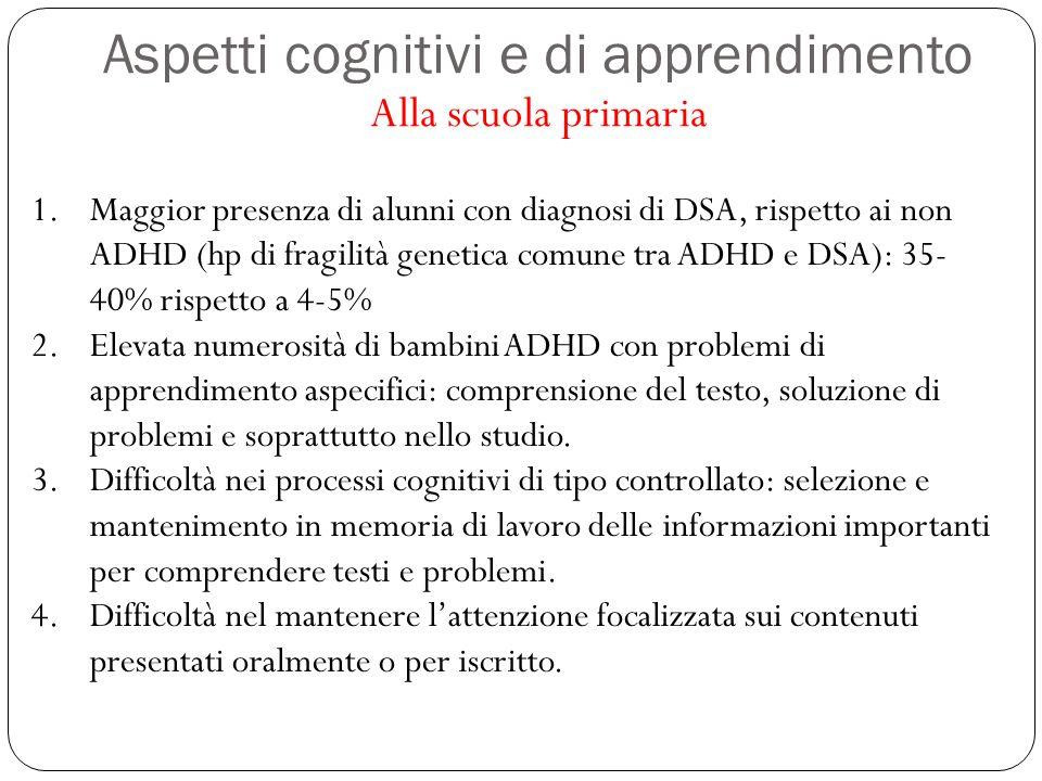 Aspetti cognitivi e di apprendimento Alla scuola primaria 1.Maggior presenza di alunni con diagnosi di DSA, rispetto ai non ADHD (hp di fragilità gene
