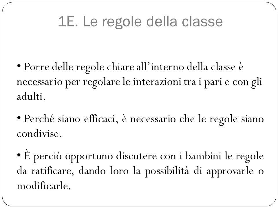 1E. Le regole della classe Porre delle regole chiare all'interno della classe è necessario per regolare le interazioni tra i pari e con gli adulti. Pe