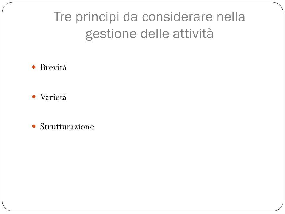 Tre principi da considerare nella gestione delle attività Brevità Varietà Strutturazione