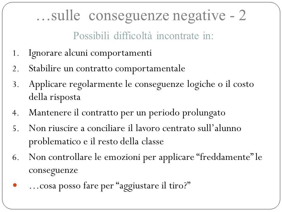 …sulle conseguenze negative - 2 1. Ignorare alcuni comportamenti 2. Stabilire un contratto comportamentale 3. Applicare regolarmente le conseguenze lo