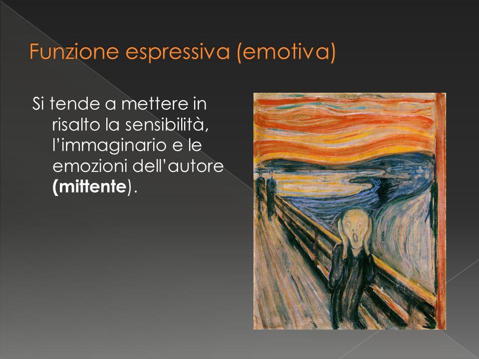Si tende a mettere in risalto la sensibilità, l'immaginario e le emozioni dell'autore (mittente ).