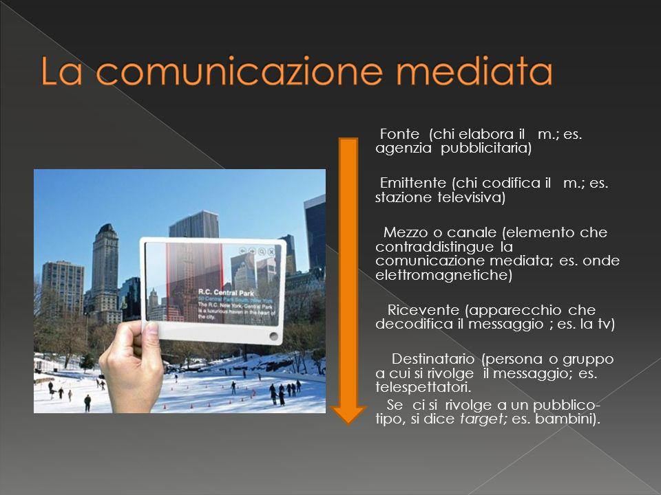 Fonte (chi elabora il m.; es. agenzia pubblicitaria) Emittente (chi codifica il m.; es. stazione televisiva) Mezzo o canale (elemento che contraddisti
