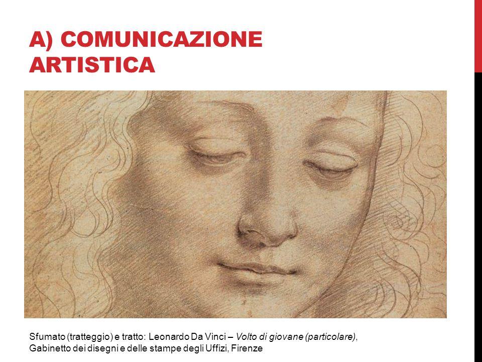 A) COMUNICAZIONE ARTISTICA Sfumato (tratteggio) e tratto: Leonardo Da Vinci – Volto di giovane (particolare), Gabinetto dei disegni e delle stampe deg