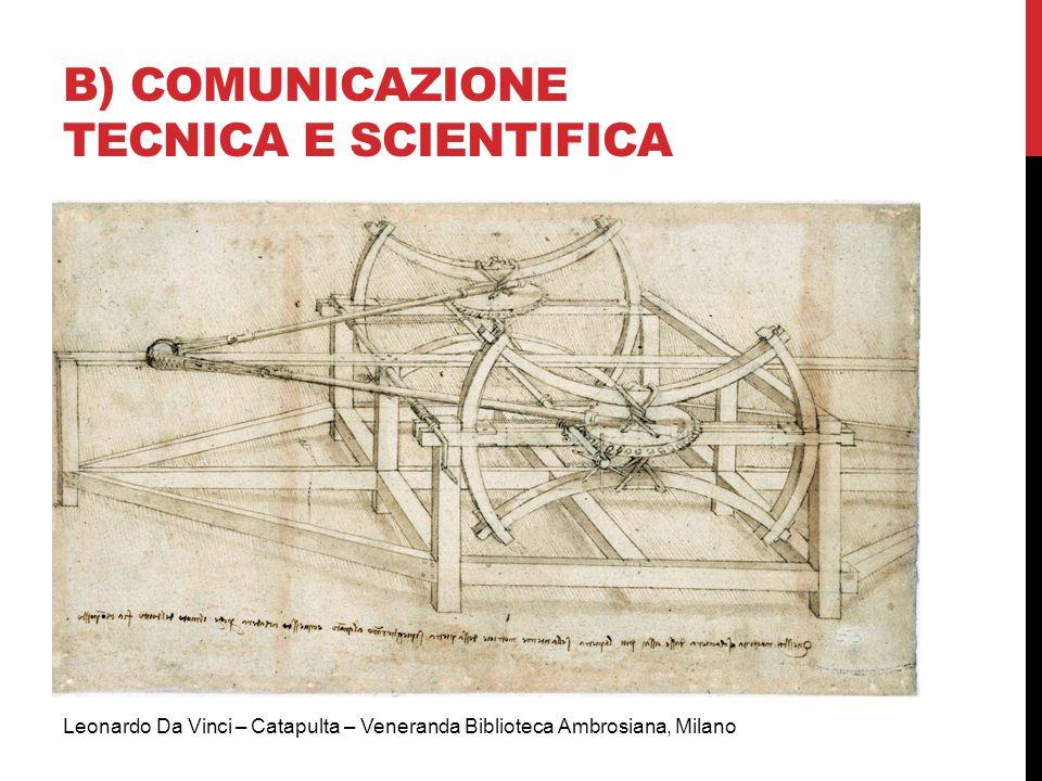 B) COMUNICAZIONE TECNICA E SCIENTIFICA Leonardo Da Vinci – Catapulta – Veneranda Biblioteca Ambrosiana, Milano