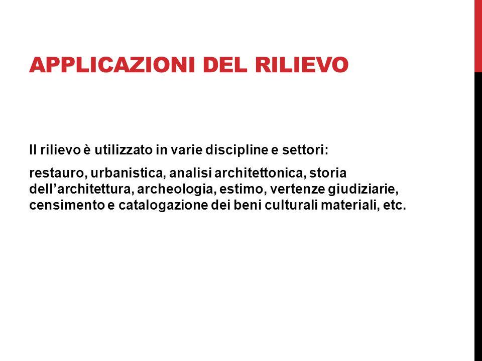 APPLICAZIONI DEL RILIEVO Il rilievo è utilizzato in varie discipline e settori: restauro, urbanistica, analisi architettonica, storia dell'architettu