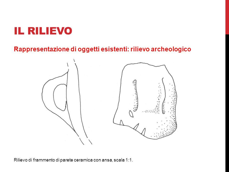 IL RILIEVO Rappresentazione di oggetti esistenti: rilievo archeologico Rilievo di frammento di parete ceramica con ansa, scala 1:1.