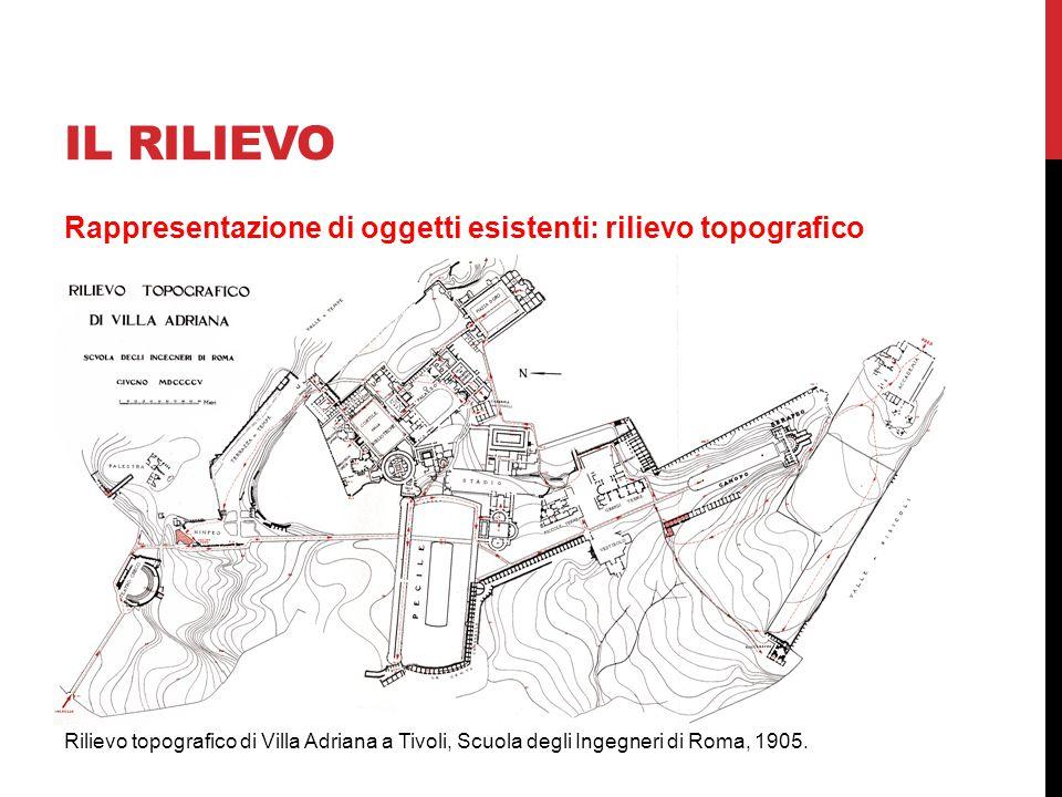 IL RILIEVO Rappresentazione di oggetti esistenti: rilievo topografico Rilievo topografico di Villa Adriana a Tivoli, Scuola degli Ingegneri di Roma, 1