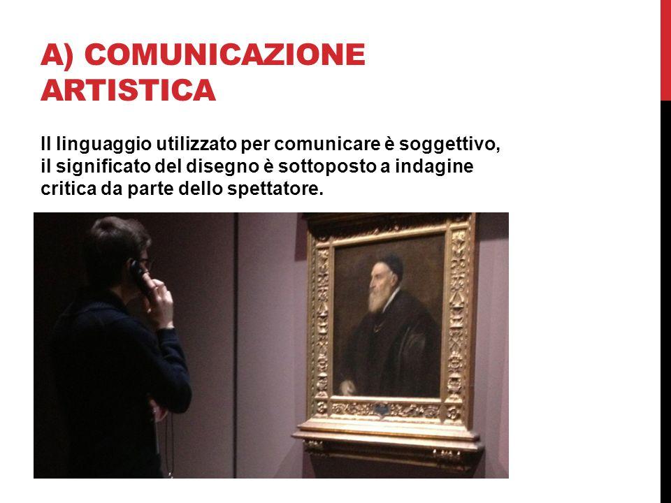 A) COMUNICAZIONE ARTISTICA Il linguaggio utilizzato per comunicare è soggettivo, il significato del disegno è sottoposto a indagine critica da parte d