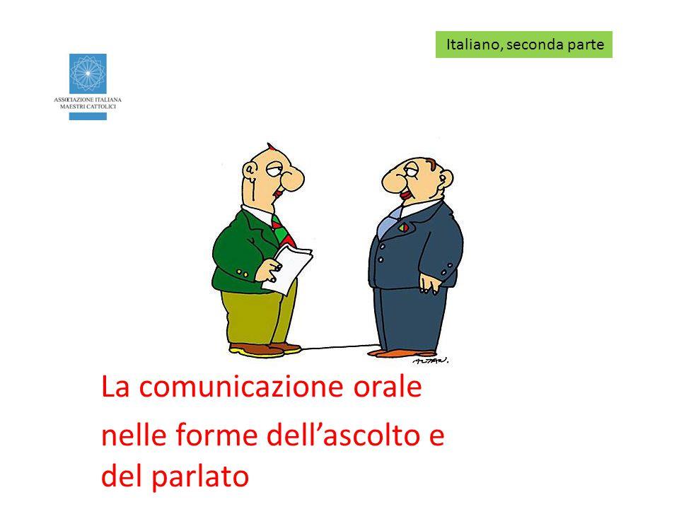 La comunicazione orale nelle forme dell'ascolto e del parlato Italiano, seconda parte