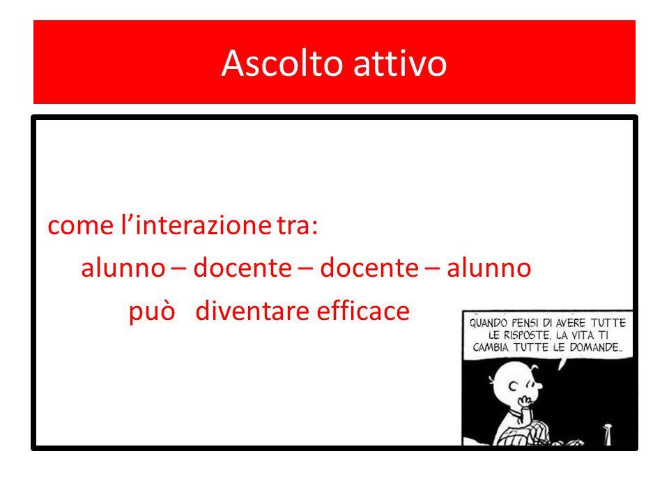 Ascolto attivo come l'interazione tra: alunno – docente – docente – alunno può diventare efficace