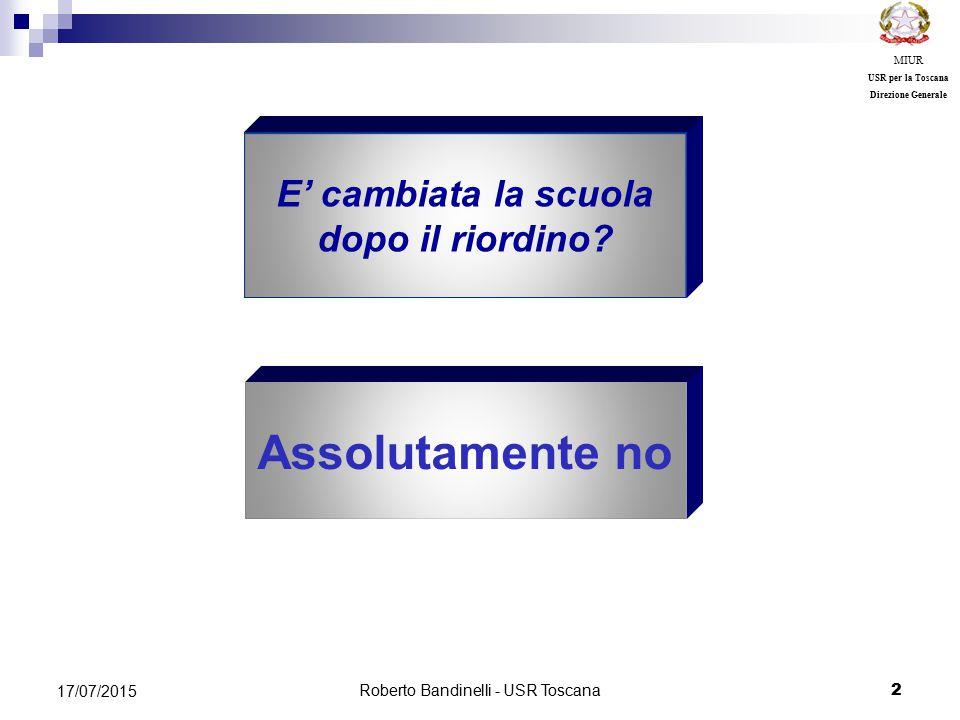 Roberto Bandinelli - USR Toscana 2 17/07/2015 MIUR USR per la Toscana Direzione Generale Assolutamente no E' cambiata la scuola dopo il riordino?