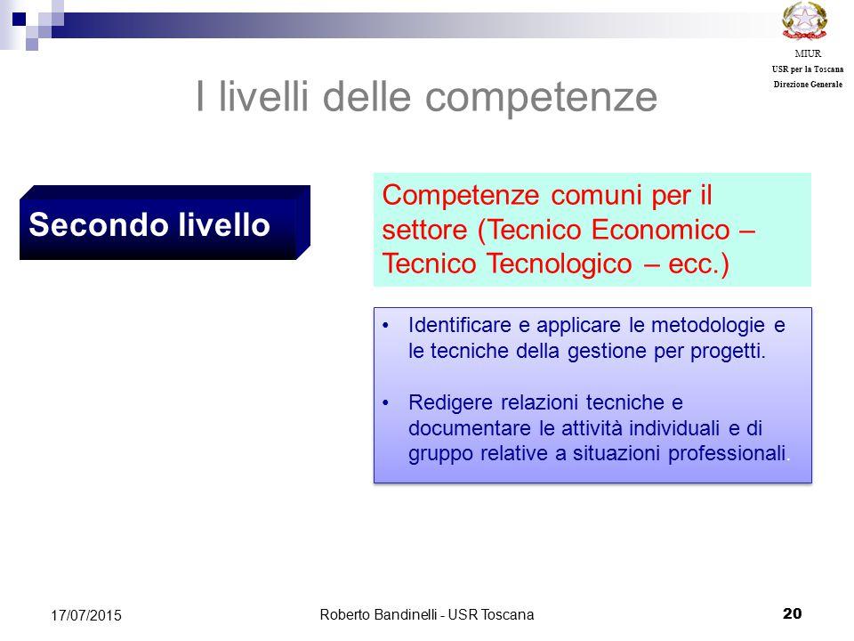 Roberto Bandinelli - USR Toscana 20 17/07/2015 MIUR USR per la Toscana Direzione Generale Secondo livello I livelli delle competenze Competenze comuni per il settore (Tecnico Economico – Tecnico Tecnologico – ecc.) Identificare e applicare le metodologie e le tecniche della gestione per progetti.