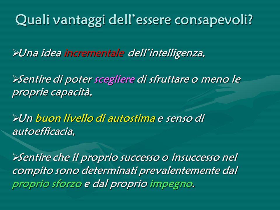 Quali vantaggi dell'essere consapevoli?  Una idea incrementale dell'intelligenza,  Sentire di poter scegliere di sfruttare o meno le proprie capacit