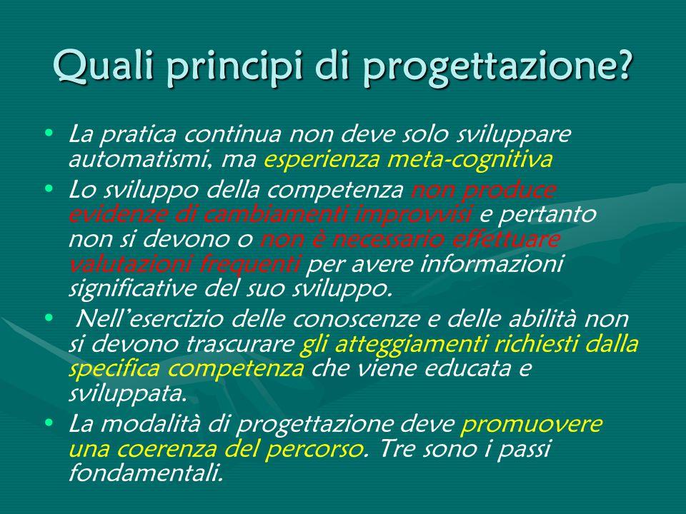 Quali principi di progettazione? La pratica continua non deve solo sviluppare automatismi, ma esperienza meta-cognitiva Lo sviluppo della competenza n