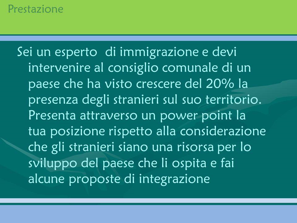 Prestazione Sei un esperto di immigrazione e devi intervenire al consiglio comunale di un paese che ha visto crescere del 20% la presenza degli strani