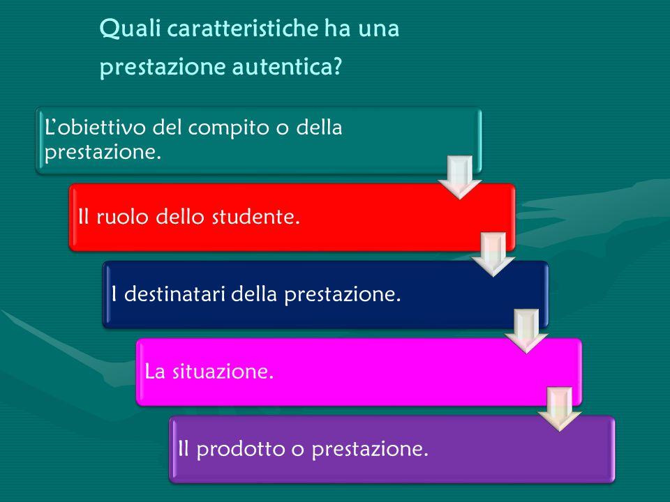 Quali caratteristiche ha una prestazione autentica? L'obiettivo del compito o della prestazione. Il ruolo dello studente.I destinatari della prestazio