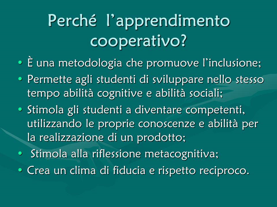 Perché l'apprendimento cooperativo? È una metodologia che promuove l'inclusione;È una metodologia che promuove l'inclusione; Permette agli studenti di