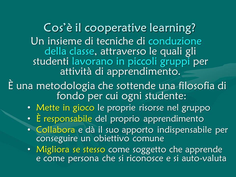 Cos'è il cooperative learning? Un insieme di tecniche di conduzione della classe, attraverso le quali gli studenti lavorano in piccoli gruppi per atti
