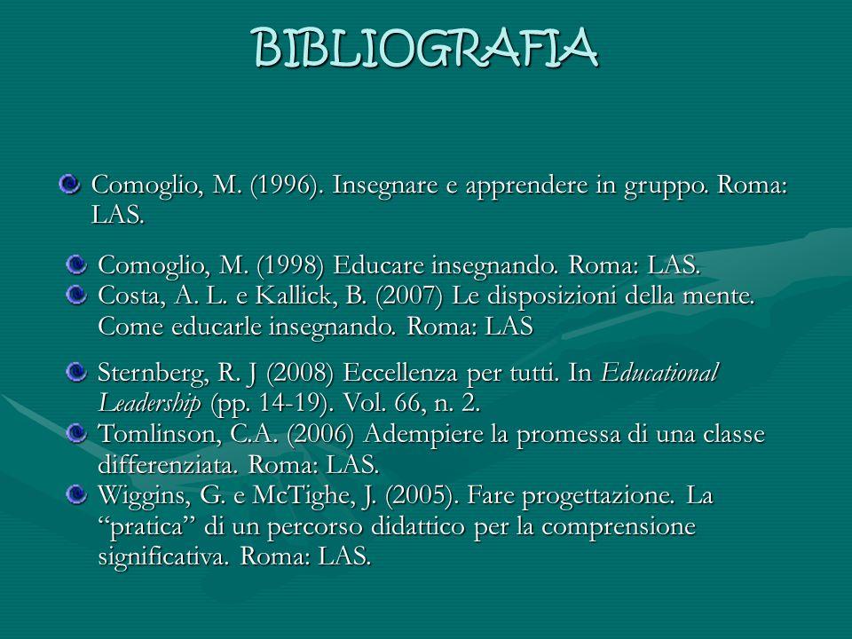 BIBLIOGRAFIA Comoglio, M. (1996). Insegnare e apprendere in gruppo. Roma: LAS. Comoglio, M. (1998) Educare insegnando. Roma: LAS. Costa, A. L. e Kalli
