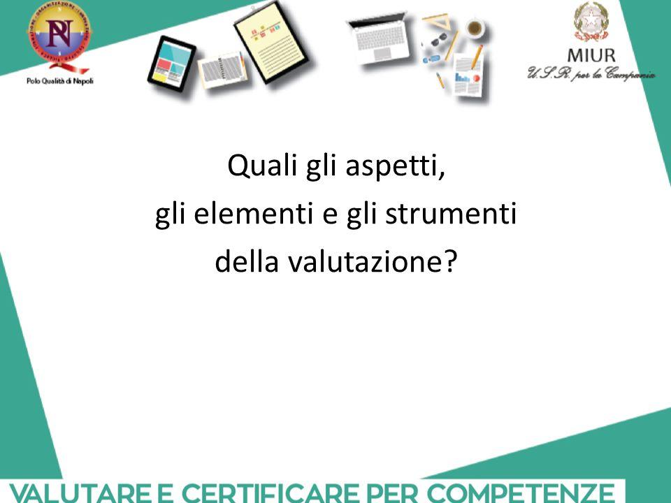Quali gli aspetti, gli elementi e gli strumenti della valutazione?