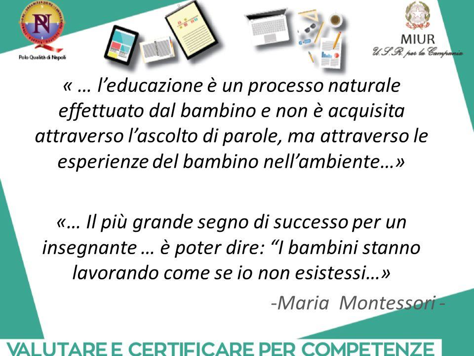 « … l'educazione è un processo naturale effettuato dal bambino e non è acquisita attraverso l'ascolto di parole, ma attraverso le esperienze del bambi