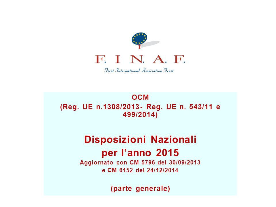 OCM (Reg.UE n.1308/2013- Reg. UE n.