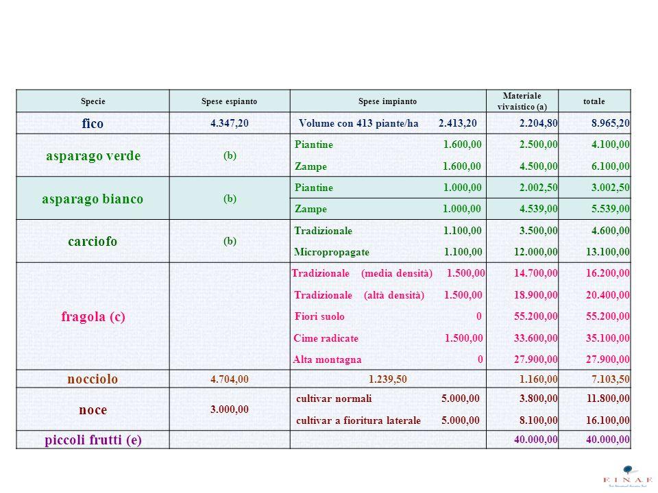 SpecieSpese espiantoSpese impianto Materiale vivaistico (a) totale fico 4.347,20Volume con 413 piante/ha 2.413,202.204,808.965,20 asparago verde (b) Piantine 1.600,002.500,004.100,00 Zampe 1.600,004.500,006.100,00 asparago bianco (b) Piantine 1.000,002.002,503.002,50 Zampe 1.000,004.539,005.539,00 carciofo (b) Tradizionale 1.100,003.500,004.600,00 Micropropagate 1.100,0012.000,0013.100,00 fragola (c) Tradizionale (media densità) 1.500,0014.700,0016.200,00 Tradizionale (altà densità) 1.500,0018.900,0020.400,00 Fiori suolo 055.200,00 Cime radicate 1.500,0033.600,0035.100,00 Alta montagna 027.900,00 nocciolo 4.704,001.239,501.160,007.103,50 noce 3.000,00 cultivar normali 5.000,003.800,0011.800,00 cultivar a fioritura laterale 5.000,008.100,0016.100,00 piccoli frutti (e) 40.000,00