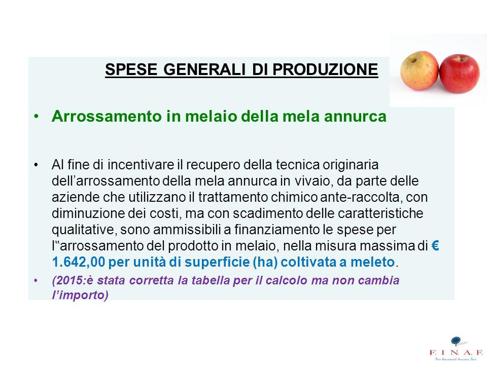 """SPESE GENERALI DI PRODUZIONE Arrossamento in melaio della mela annurca Al fine di incentivare il recupero della tecnica originaria dell'arrossamento della mela annurca in vivaio, da parte delle aziende che utilizzano il trattamento chimico ante-raccolta, con diminuzione dei costi, ma con scadimento delle caratteristiche qualitative, sono ammissibili a finanziamento le spese per l """" arrossamento del prodotto in melaio, nella misura massima di € 1.642,00 per unità di superficie (ha) coltivata a meleto."""