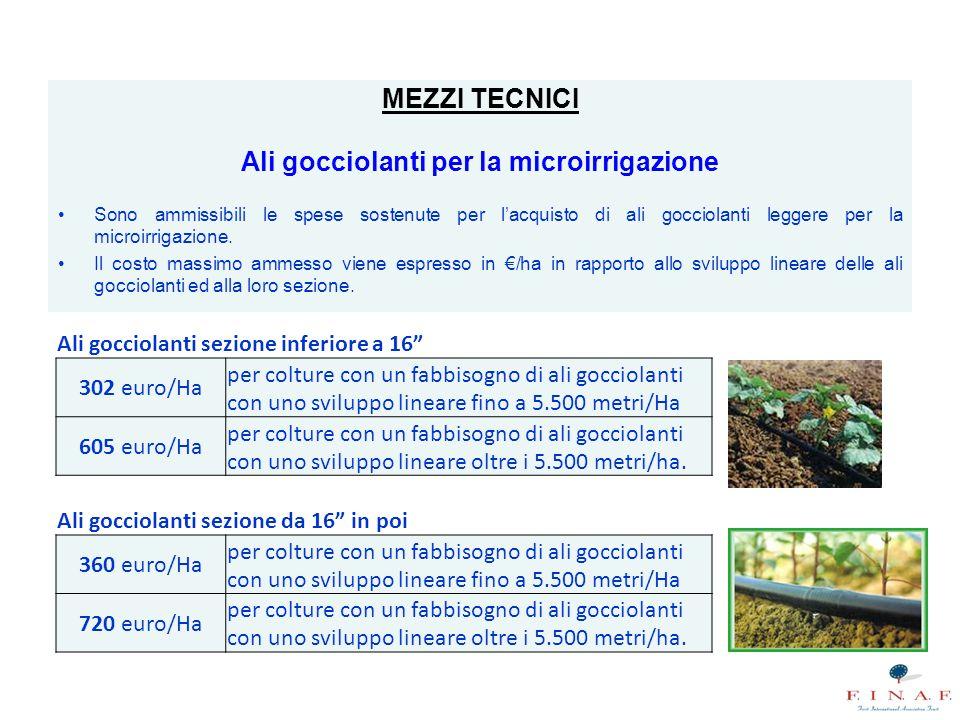 MEZZI TECNICI Ali gocciolanti per la microirrigazione Sono ammissibili le spese sostenute per l'acquisto di ali gocciolanti leggere per la microirrigazione.