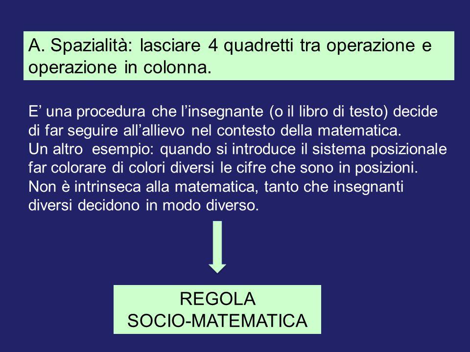 A. Spazialità: lasciare 4 quadretti tra operazione e operazione in colonna. REGOLA SOCIO-MATEMATICA E' una procedura che l'insegnante (o il libro di t