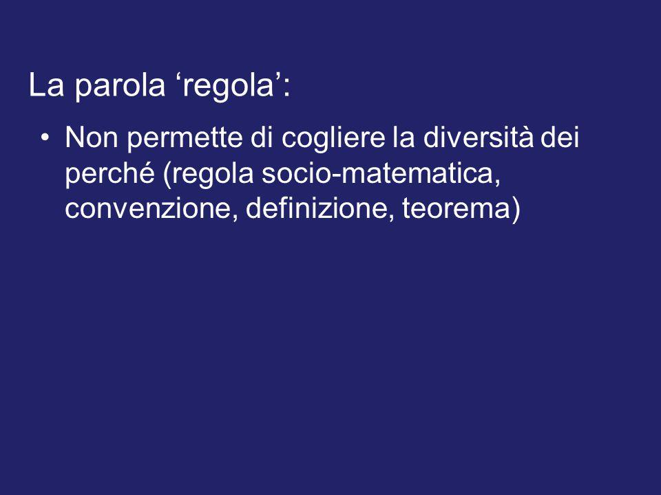 Non permette di cogliere la diversità dei perché (regola socio-matematica, convenzione, definizione, teorema) La parola 'regola':