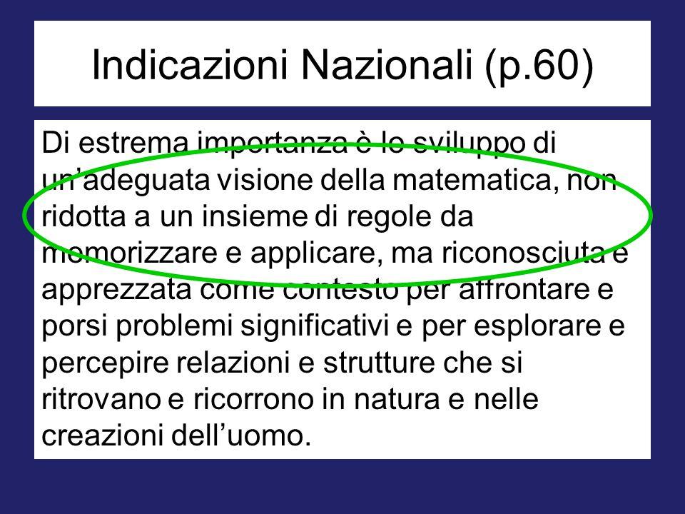 Indicazioni Nazionali (p.60) Di estrema importanza è lo sviluppo di un'adeguata visione della matematica, non ridotta a un insieme di regole da memori