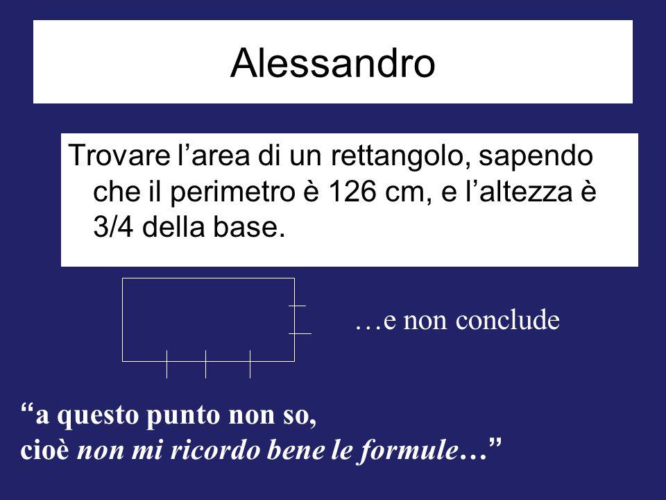"""Alessandro Trovare l'area di un rettangolo, sapendo che il perimetro è 126 cm, e l'altezza è 3/4 della base. …e non conclude """" a questo punto non so,"""