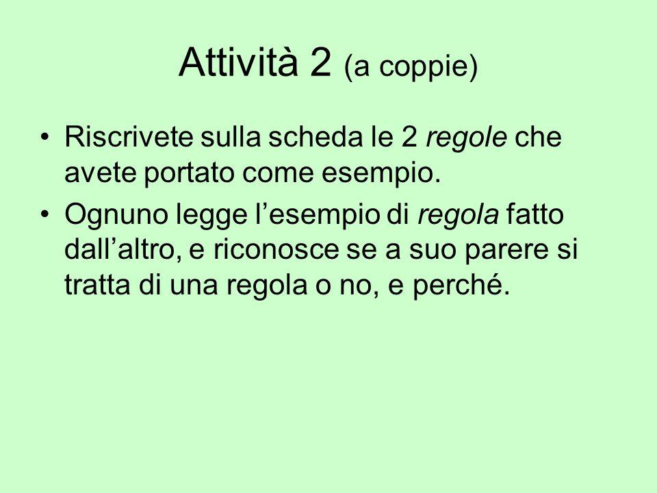Attività 2 (a coppie) Riscrivete sulla scheda le 2 regole che avete portato come esempio. Ognuno legge l'esempio di regola fatto dall'altro, e riconos