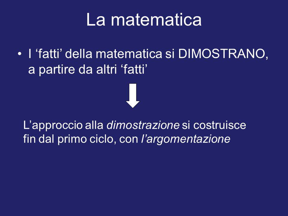 La matematica I 'fatti' della matematica si DIMOSTRANO, a partire da altri 'fatti' L'approccio alla dimostrazione si costruisce fin dal primo ciclo, con l'argomentazione
